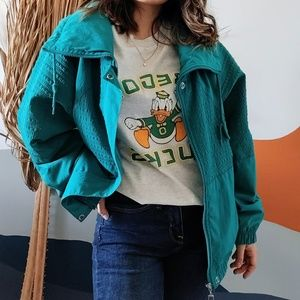 Vintage 80s Fleece Windbreaker Zip Up Jacket Teal
